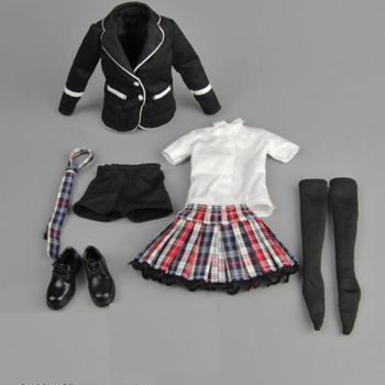 In stock 1/6 scale  ZY15-30 student school uniform set of girls dress suits with black lattice fit12 inch Ph toy doll