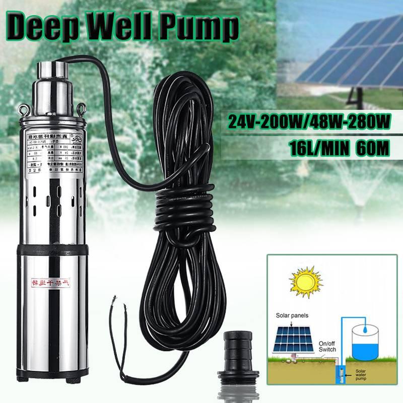 Efficient 40/60M Solar Water Pump 24V/48V 200W/280W Deep Well Submersible Pump Irrigation Pump Deep Well Pump for Garden