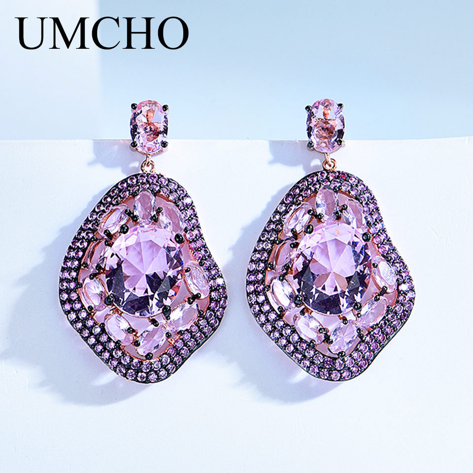 UMCHO 만든 나노 핑크 Morganite 드롭 귀걸이 여성을위한 럭셔리 정품 925 스털링 실버 귀걸이 기념일 선물 쥬얼리