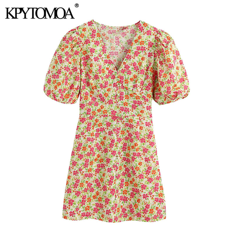 KPYTOMOA Women 2020 Chic Fashion Floral Print Mini Dress Vintage V Neck Puff Sleeves Female Dresses Vestidos Mujer