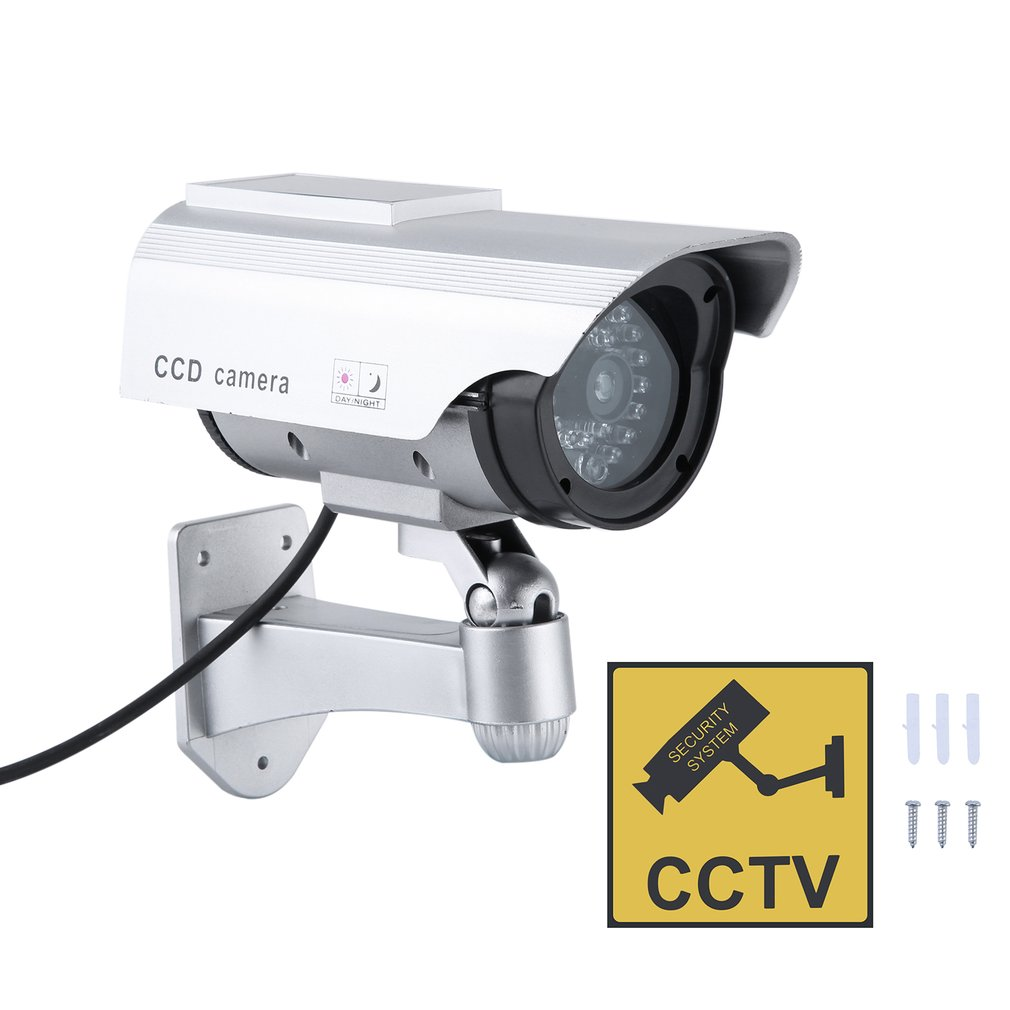 Solar Powered Dummy CCD Camera Outdoor Indoor Security Surveillance Simulation Camera Built In Flash LED Light|Surveillance Cameras|Security & Protection - title=