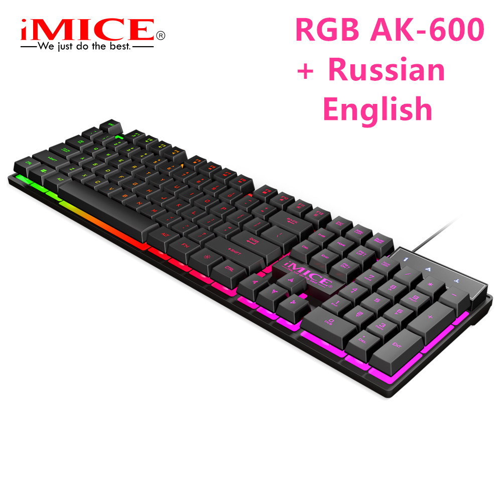 Image 2 - iMice Wired Gaming Keyboard Mechanical Feeling+Russian sticker Keyboards LED RGB Backlit Wired USB 104 Keys Computer PC+x7 mouse-in Keyboards from Computer & Office