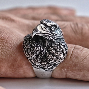 EYHIMD Nordic Stainless Steel Eagle Ring Men's Predator Biker Style Viking Rings Animal Jewelry