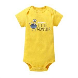 Image 5 - cartoon monster baby bodysuit newborn boy girl clothes new born short sleeve onesie cotton unsisex body clothing 2020 5PCS/SET