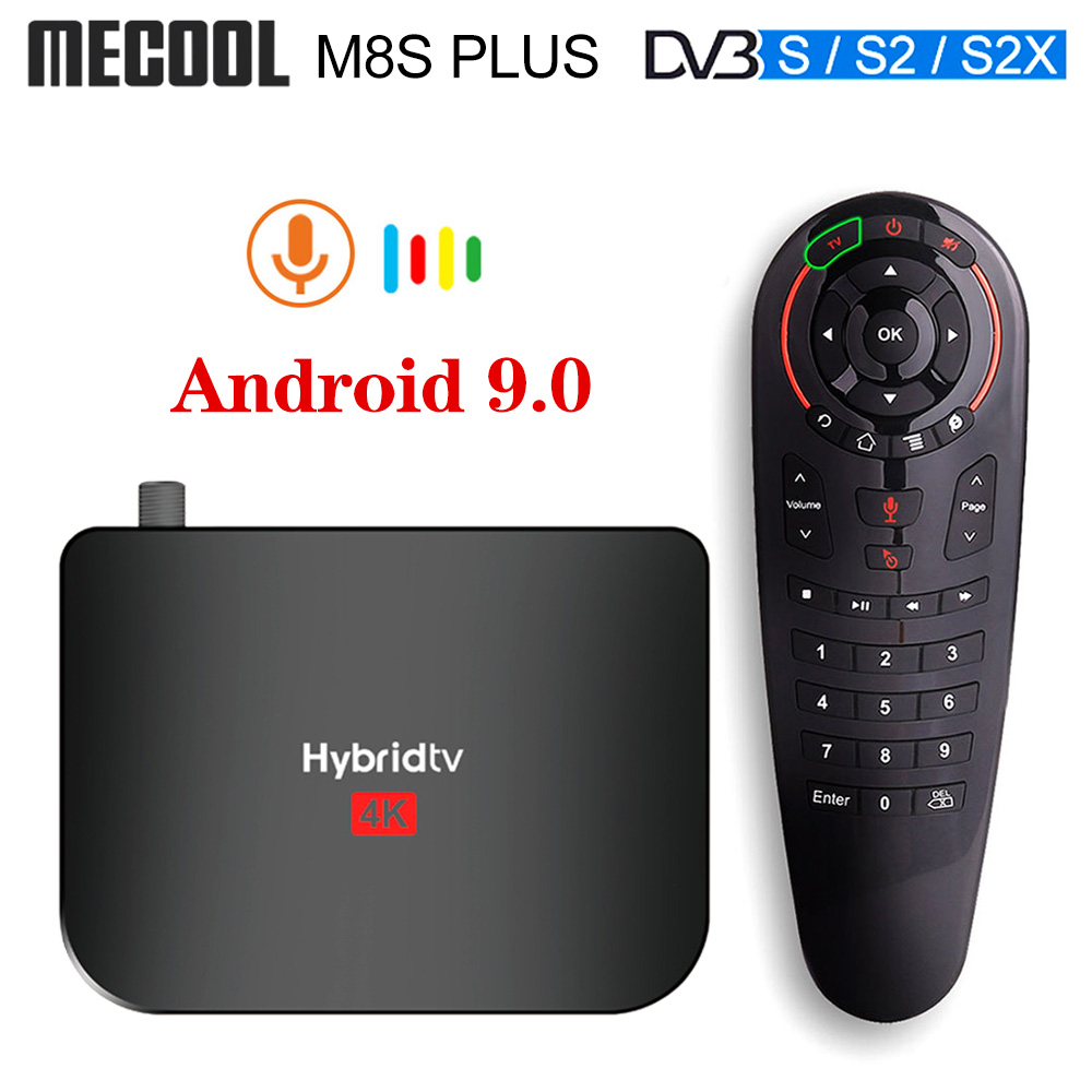 Mecool M8S PLUS S2 T2 Hybridtv Smart TV Box Android 9.0 DVB-S2 DVB-T2 Satellite Receiver Amlogic S905X2 RAM 2GB ROM 16GB TV BOX