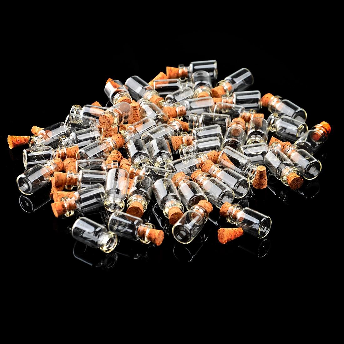 100pcs 0.5ml Mini Clear Glass Bottle Wishing Bottle Vials Empty Jars With Cork Stopper Weddings Wish Jewelry Party Favors New