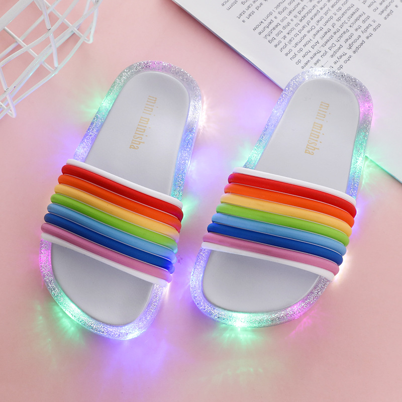 ULKNN Children's LED Slipper Girls Slippers  PVC Non-slip Rainbow Beach Sandals Kids Home Bathroom Footwear Luminous Summer
