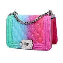 luxury leather shouder Bag Chain Diagonal Designer for Women 2020 Colorful Rainbow Graffiti Messenger Purses cluth handbag