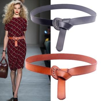 Western Cow Leather Tie Knot Women Cummerbund Genuine Dress Sweater Thicken Coat Wide Belt