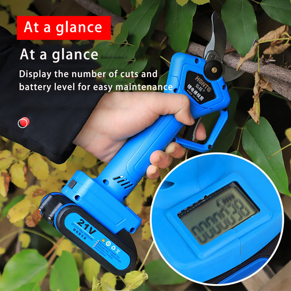 21V Cordless Pruner Lithium-ion Pruning Shear Efficient Fruit Tree Bonsai Pruning Electric Tree Branches Cutter With Display