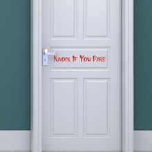 AFH2073 Red Halloween KNOCK IF YOU DARE With Transfer Film Wall Paste Halloween Decorative Door Sticker dare you