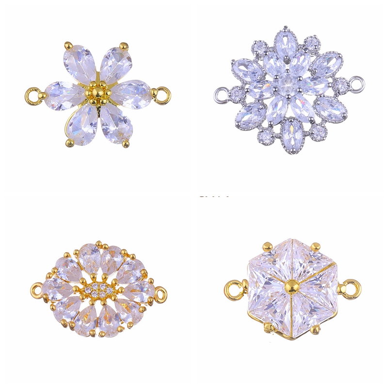 Supplies For Jewelry Hand Made Flower Crystal Charm Pendant Connectors For Diy Earrings Bracelets Necklaces Jewellery Making