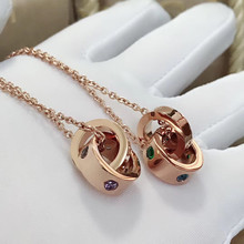 Ailie high quality original fit Bulgaria 925 silver necklace double round shape brand design ladies fashion luxury jewelry diana high quality for bulgaria s925 sterling silver necklace rotating round cake shape brand design ladies fashion jewelry