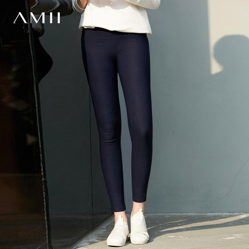 Amii Minimalist Spring Summer Solid Skinny Stretch Pants Women Elastic Band High Waist Soft Pencil Pants 11764904