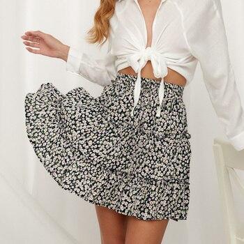 Women Summer Floral Print Pleated Mini Skirt Elegant High waist Short Beach Holidays Casual  Cotton S M L XL 2XL