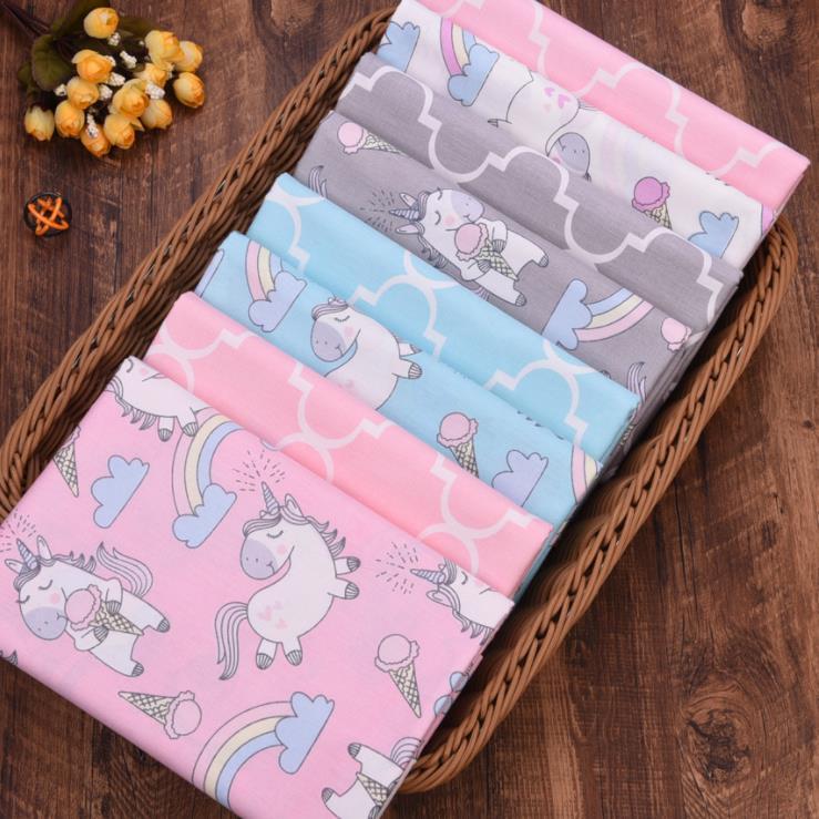 Мультяшный Единорог, сделай сам, шитье, стеганое одеяло, жир, материал Tecido для детского платья, текстиль, твил, хлопковая ткань, Лоскутная Тка...