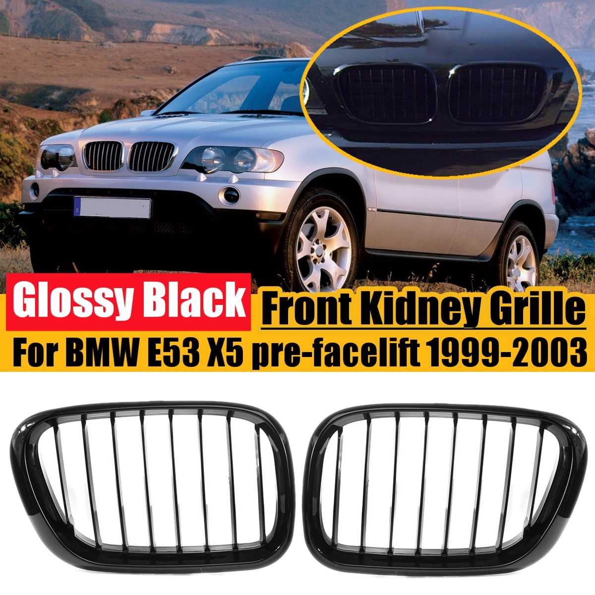 1 Pair Glossy Black Front Kidney Grille For BMW <font><b>E53</b></font> X5 pre-facelift 1999 2000 <font><b>2001</b></font> 2002 2003 Styling Racing Grille #51138250052 image