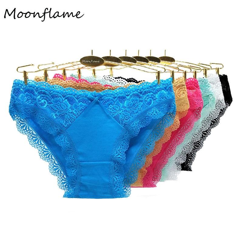 Moonflame 5 Pcs/lots Women Clothing 6 Candy Color Sexy Lace Cotton Panites M L XL 89347