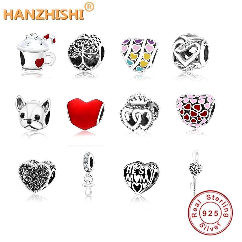 2019 Spring Original 925 Sterling Silver Bead Charm Lucky Pink Ladybird Pendant ladybug Beads Fits Pandora Bracelet Diy Jewelry(China)