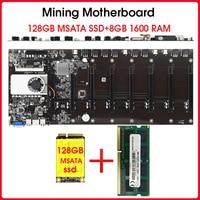 Riserless鉱業マザーボード8 gpu bitcoin暗号etherum鉱業128ギガバイトmsata ssd DDR3と8ギガバイト1600 ramセット
