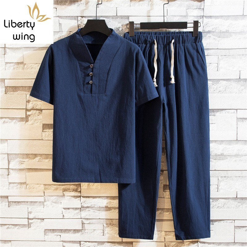 Chinese Style Mens Summer Cotton And Linen Plus Size 2Pcs Sets Short Sleeve V-Neck T-Shirts Drawstring Waist Ankle Length Pants