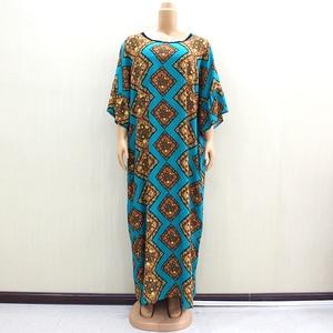 Image 5 - 2019 Dashikiage piękna afrykańska moda O Neck krótka, zwiewna rękaw elegancka szlachetna damska długa sukienka z szalikiem
