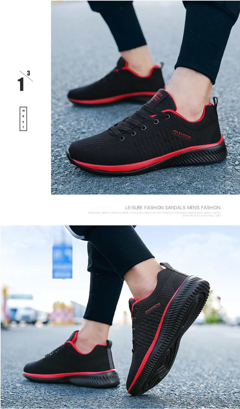 New Style Lace Up Male Sneakers Casual Breathable Mens Mesh Shoes Popular No-slip Men Shoes Tenis Masculino Zapatillas Hombre 66