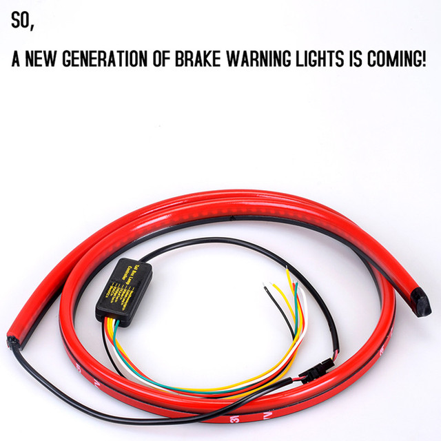 Фото 12v car led strip brake lights auto rear tail warning lighting цена