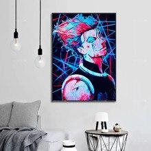 Nordic posters arte da parede pintura em tela hunterxhunter hisoka morow hxh anime lona arte para sala de estar decorati