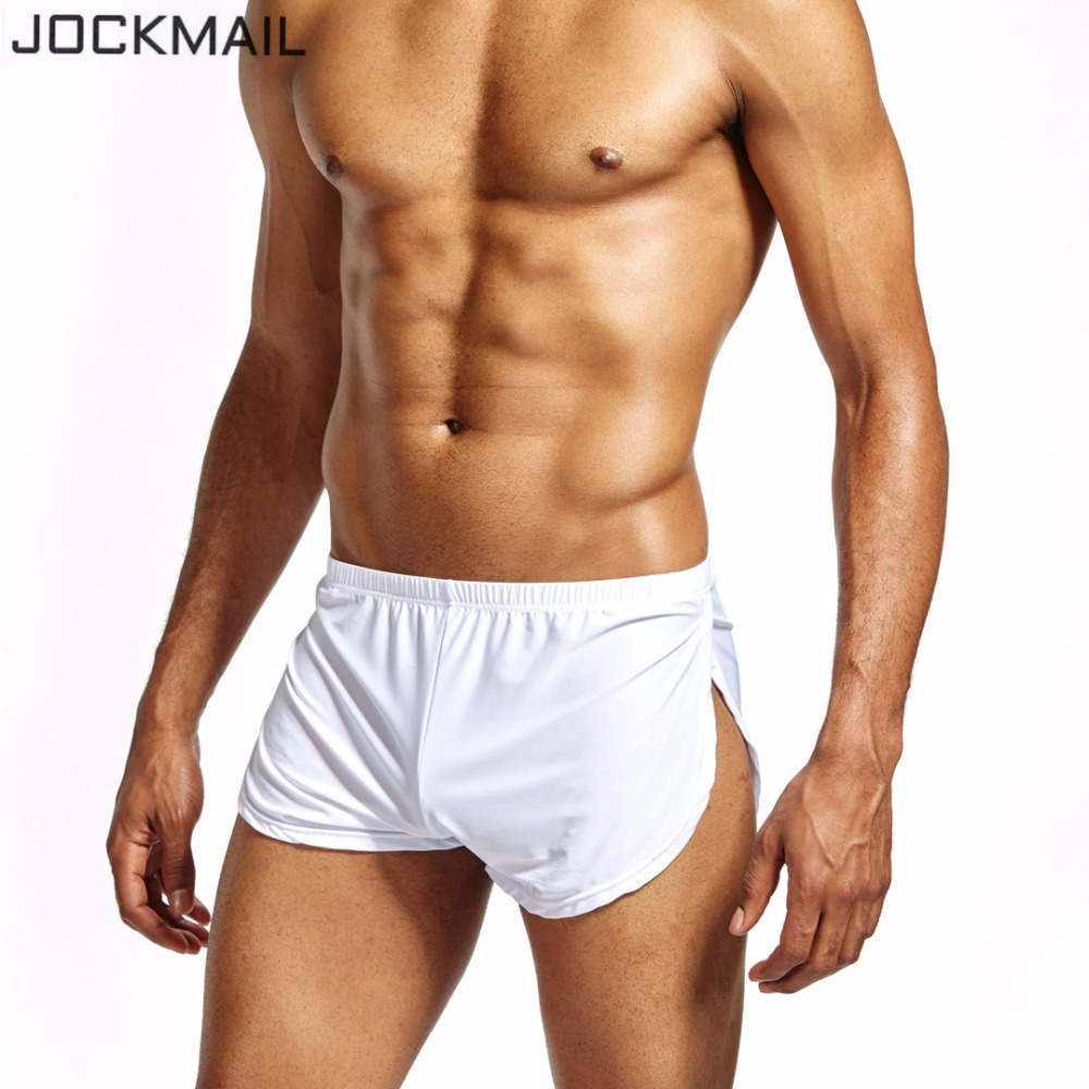 JOCKMAIL Nylon Ice Silk Lounge Spandex Trunks Men's Trunks Sexy Sissy Panties Men Boxers Shorts Home Sleepwear Gay Underwear