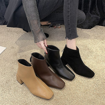 Autumn-winter Simple Square Toe PU Upper Waterproof Women's Short Boots Popular Wild Solid Color Ankle Boots with Zipper Design trendy metal rivets and solid color design ankle boots for women