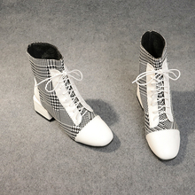 Sexy Ankle Boots For Women Black White Boots Plush Shoes  Women Boots Gingham 2019 New Autumn Winter Fashion Heels Boots winter boots women 2018 new fashion ladies shoes sexy ankle boots for women beige black scarpe donna 8cm