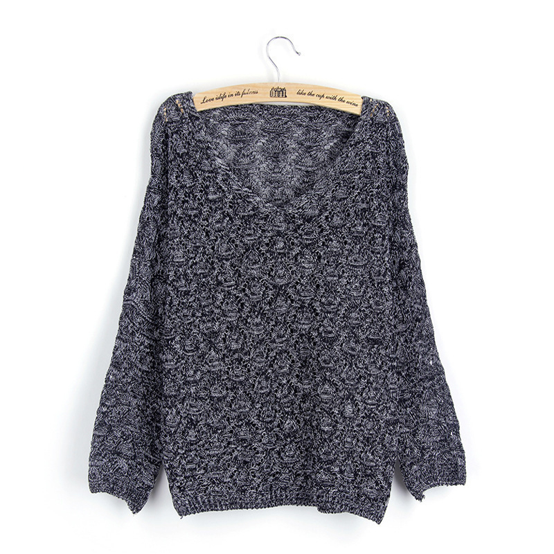 V-cou 2019 femmes printemps chandail tricoté évider Transparent Femme court Pull Femme 4 couleurs dames Pull