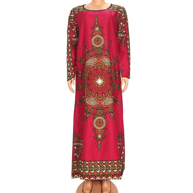 Dashikiage Fashion African New Arrival Dashiki Print Rose Red Cotton O-Neck Long Sleeve Modern Spring Long Dress For Women