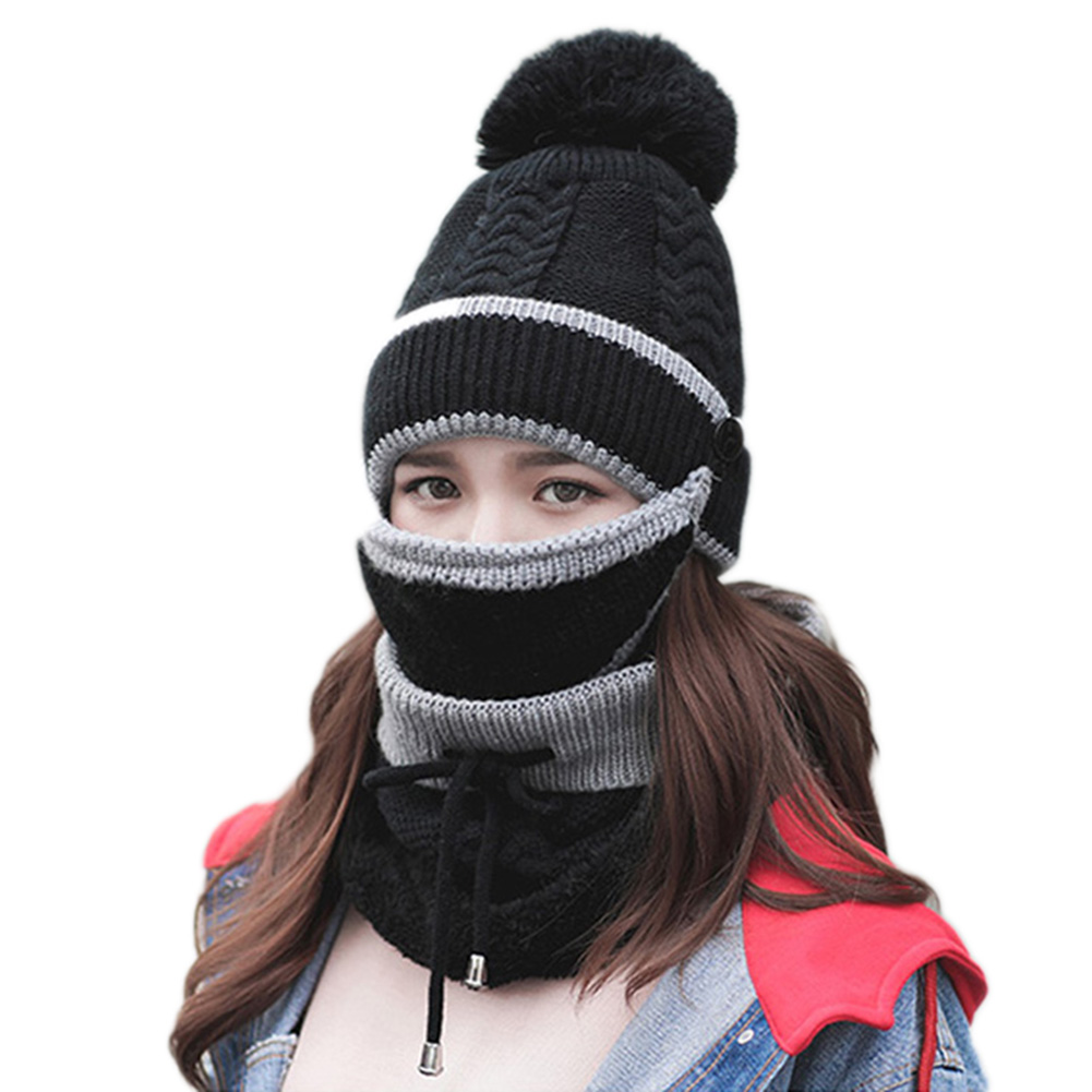 Hot 2019 Women 3-Piece Set Winter Beanie Scarf Mask Warm Short Plush Thick Cap Soft Knit Female Outdoor Winter Warm Accessories