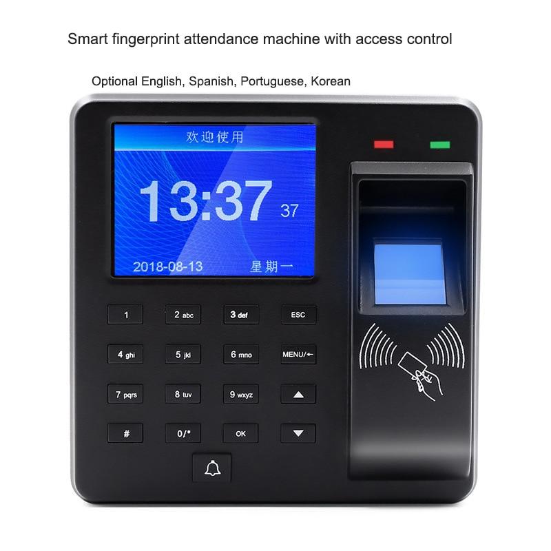 Intelligent Fingerprint Attendance Machine With Access ControlSwipe ID Card Password Unlock Employee Smart Clock Recorder