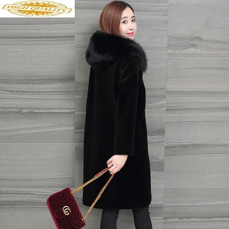 Winter Real Fur Coat Women Fox Fur Collar Hooded Long 100% Wool Fur Coats And Jackets Plus Size Korean 2020 1706 KJ3705