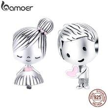 Bamoer Шарм для мальчиков и девочек, серебряный браслет 925, настоящий 925 пробы, серебряные металлические бусины, подарки на день Святого Валентина SCC1334