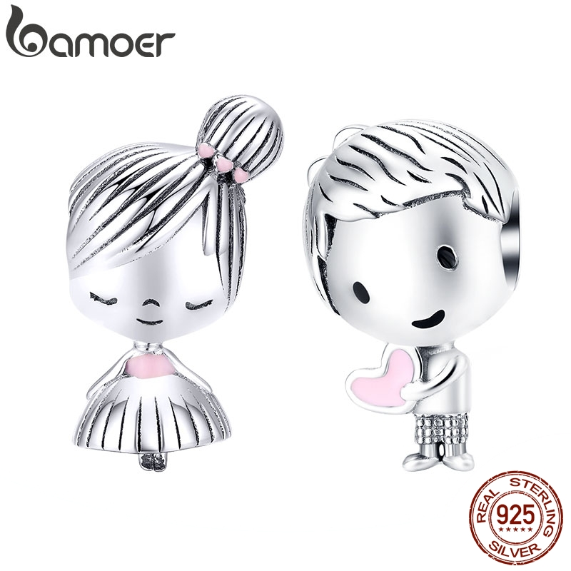 bamoer Boy and Girl Charm for Original Silver 925 Bracelet Genuine 925 Sterling Silver Metal Beads Valentine Gifts SCC1334(China)