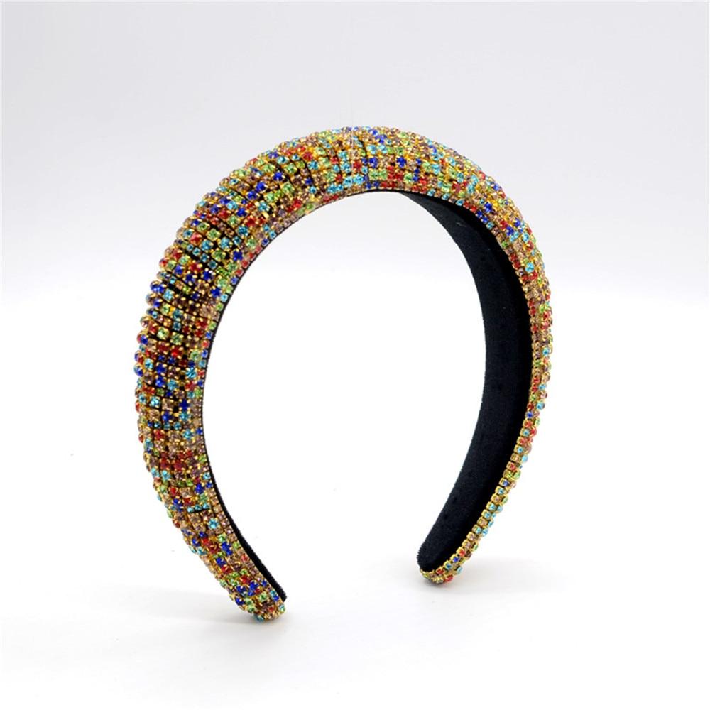 Handmade Padded Wedding Headdress Full Crystal Baroque Tiara Headband Luxury Hairband For Women Bridal Hair Accessories