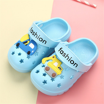 Summer Baby Slippers Kids Boys Girls Cartoon Excavating machinery Beach Sandals Slippers Comfort Flats Flip Shoes for Children girls slippers summer hot flip flop children sandals cartoon pink piggy big girls beach slippers kids shoes pvc sandal 30 35 new