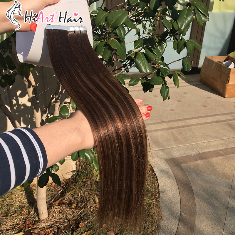 "HiArt 2.5g Tape Adhesive Extensions Salon Double Drawn Skin Weft Hair Straight Pre Bonded Natural Hair Extension 18""20""22"""