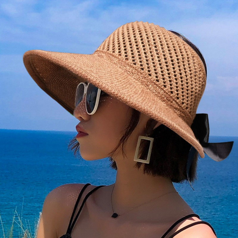 Summer Female Sun Hats Big Brim Classic Bowknot Foldable Fashion Straw Hat Casual Outdoor Beach Cap For Women UV Protected Hat