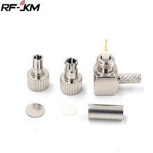 2 em 1 adaptador coaxial macho do conector do rf do ângulo direito ts9/crc9 para o cabo rg174 rg316 lmr100