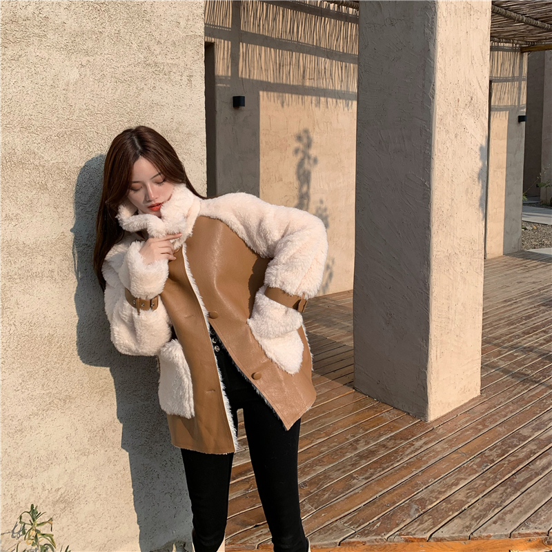 H95cb6d0c610841fead8d157d5be91b9aL Winter Women High Quality Fur Coat Loose Collar Design Integrated Long Splicing Single-breasted Cotton-padded Pocket Jackets