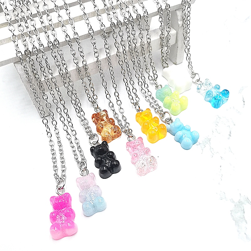Handmade 33 Colors Cute Judy Cartoon Bear Chain Necklaces, Candy Pendant For Women&Girl Daily Jewelry Party Gifts