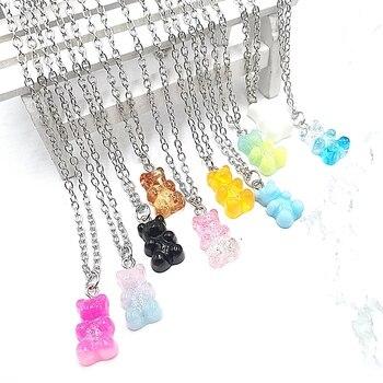 Hecho a mano 33 colores lindo Judy Cartoon Bear cadena collares, Candy...