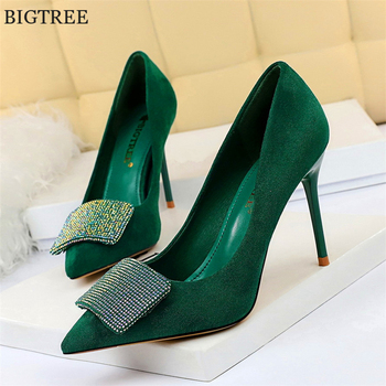 Autumn Luxury Crystal Women Shoes High Heels 9cm Elegant Office Pumps Party Women Flock Pointed Toe Wedding Shoes Big Size 34-43