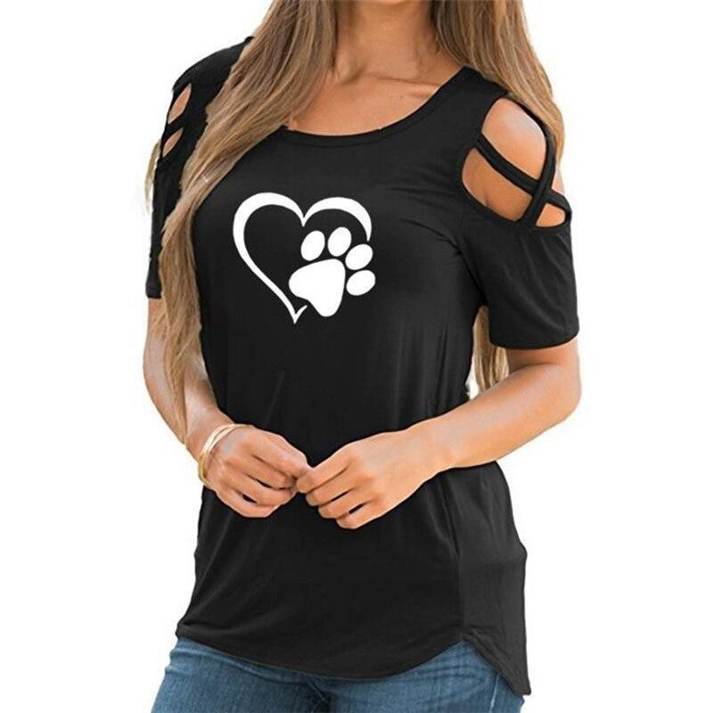 Camiseta Harajuku 2020 5XL con corazones encantadores, camiseta informal para mujer, camisetas de algodón con pata de oso, tops sin hombros para mujer, ropa, envío directo