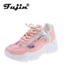 Fujin Sneakers Women Fashion Leisure Shoes Dropshipping Thick Bottom Mixed Colors Tied Muffin Lace Up Autumn